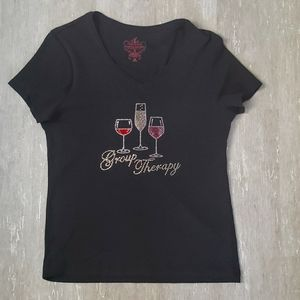 Rhinestone wine group therapy t-shirt